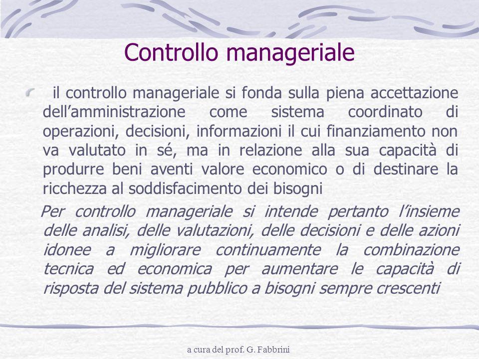 a cura del prof. G. Fabbrini Controllo manageriale il controllo manageriale si fonda sulla piena accettazione dellamministrazione come sistema coordin