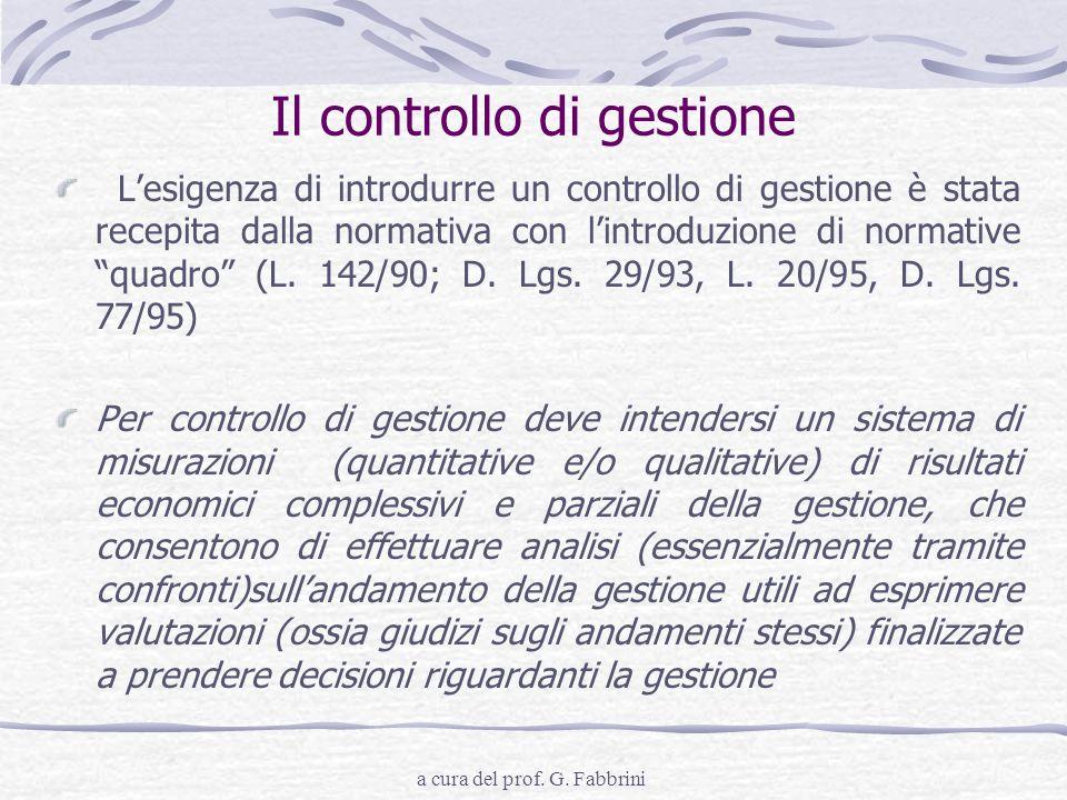 a cura del prof. G. Fabbrini Il controllo di gestione Lesigenza di introdurre un controllo di gestione è stata recepita dalla normativa con lintroduzi