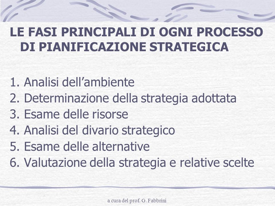 a cura del prof. G. Fabbrini LE FASI PRINCIPALI DI OGNI PROCESSO DI PIANIFICAZIONE STRATEGICA 1. Analisi dellambiente 2. Determinazione della strategi