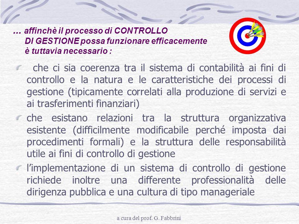 a cura del prof. G. Fabbrini... affinchè il processo di CONTROLLO DI GESTIONE possa funzionare efficacemente è tuttavia necessario : che ci sia coeren