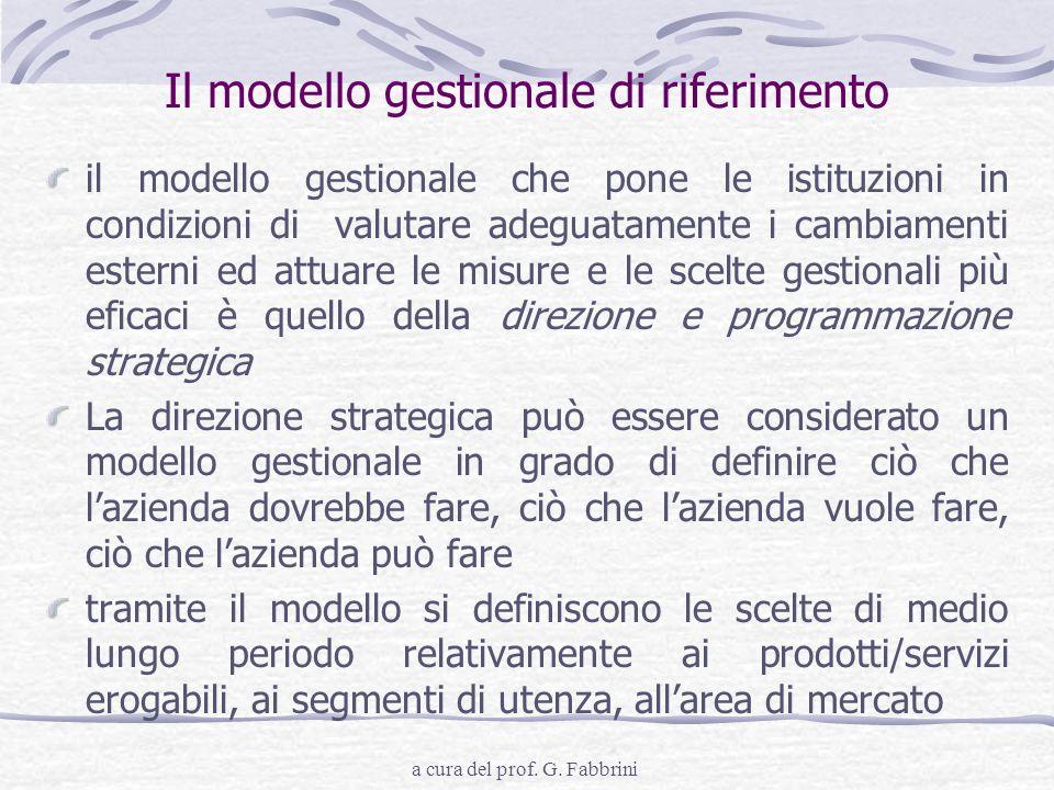a cura del prof. G. Fabbrini Il modello gestionale di riferimento il modello gestionale che pone le istituzioni in condizioni di valutare adeguatament