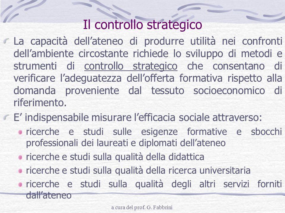 a cura del prof. G. Fabbrini Il controllo strategico La capacità dellateneo di produrre utilità nei confronti dellambiente circostante richiede lo svi