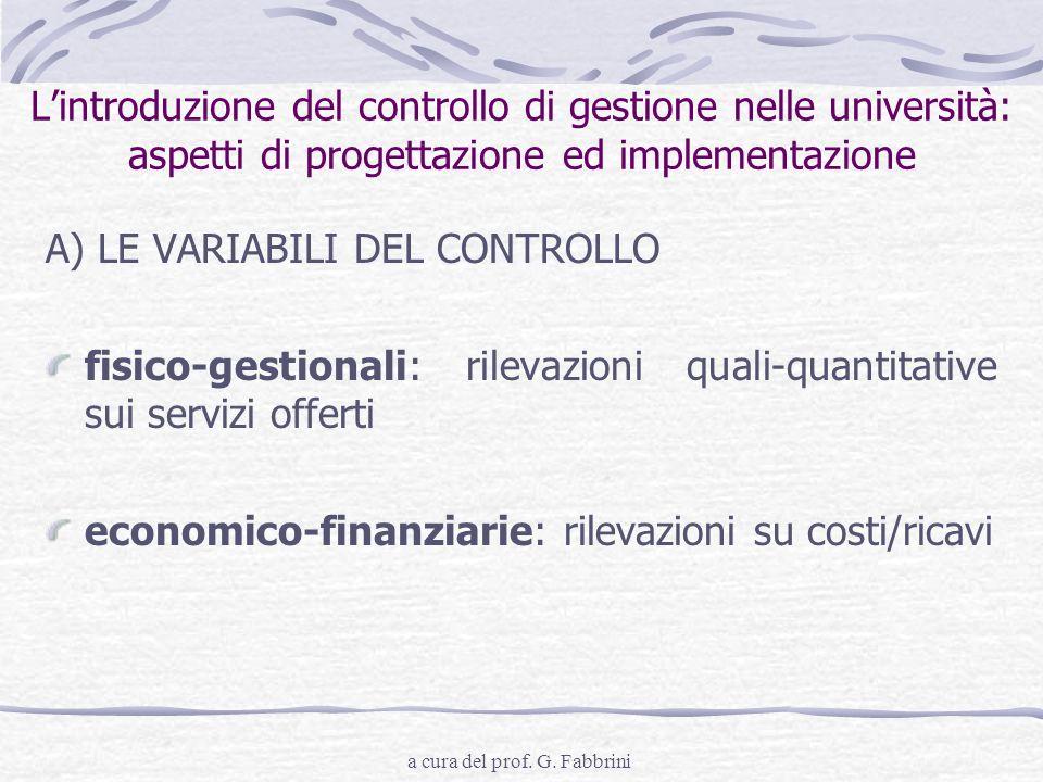 a cura del prof. G. Fabbrini Lintroduzione del controllo di gestione nelle università: aspetti di progettazione ed implementazione A) LE VARIABILI DEL