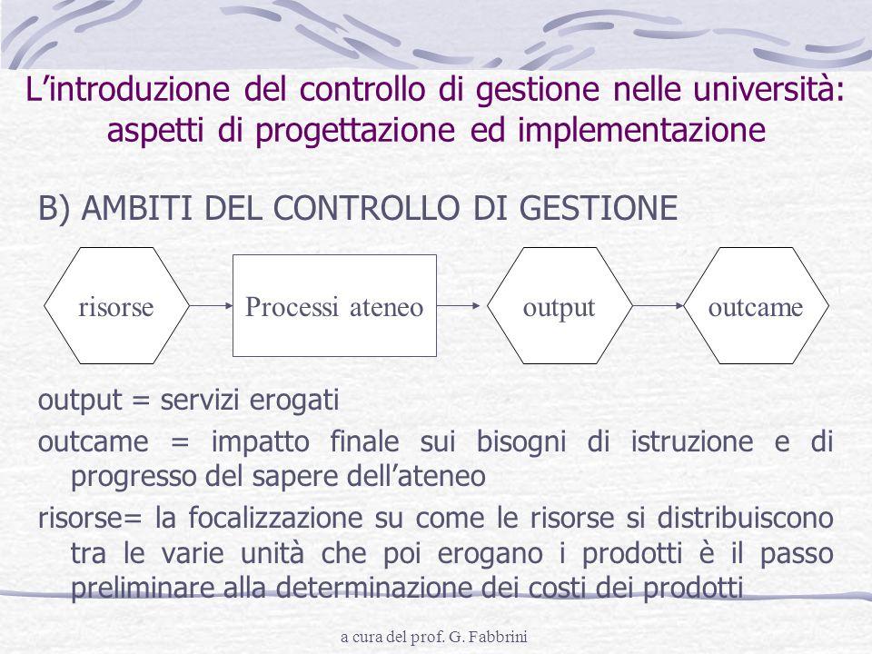 a cura del prof. G. Fabbrini Lintroduzione del controllo di gestione nelle università: aspetti di progettazione ed implementazione B) AMBITI DEL CONTR