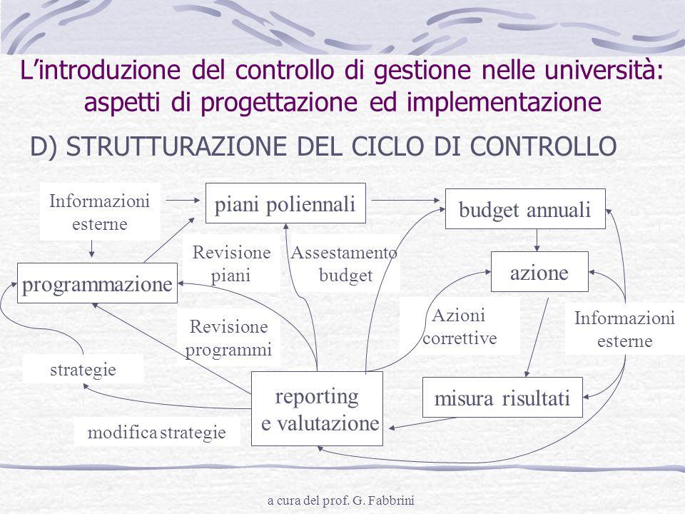 a cura del prof. G. Fabbrini Lintroduzione del controllo di gestione nelle università: aspetti di progettazione ed implementazione D) STRUTTURAZIONE D