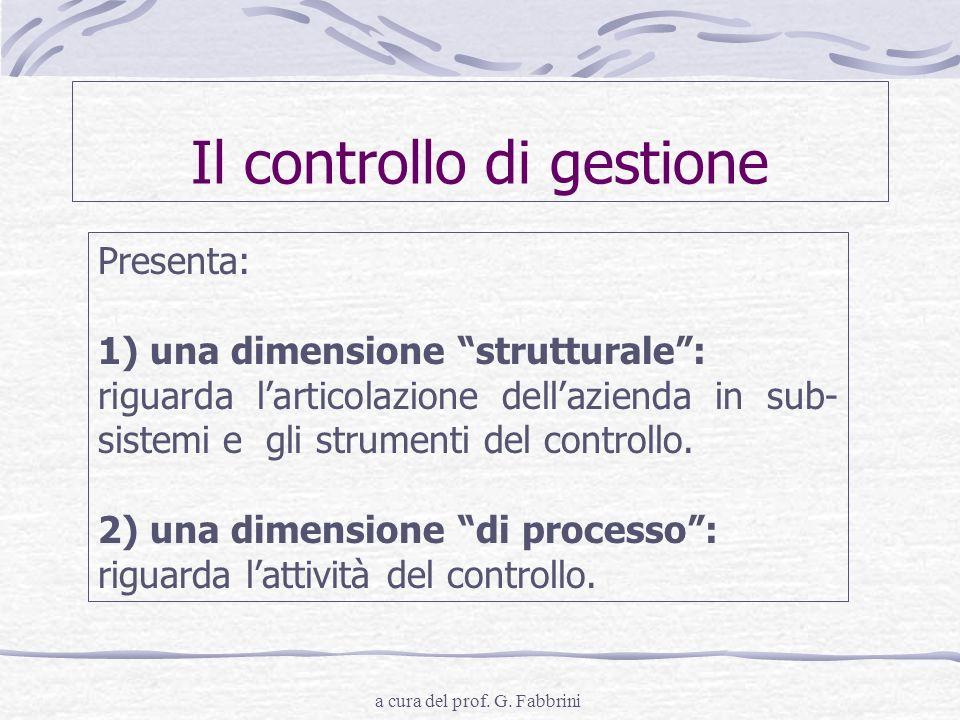 a cura del prof. G. Fabbrini Il controllo di gestione Presenta: 1) una dimensione strutturale: riguarda larticolazione dellazienda in sub- sistemi e g