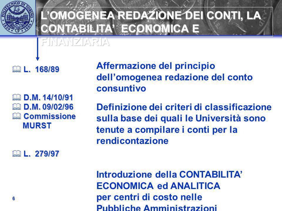 LOMOGENEA REDAZIONE DEI CONTI, LA CONTABILITA ECONOMICA E FINANZIARIA 6 L. 168/89 L. 168/89 D.M. 14/10/91 D.M. 14/10/91 D.M. 09/02/96 D.M. 09/02/96 Co