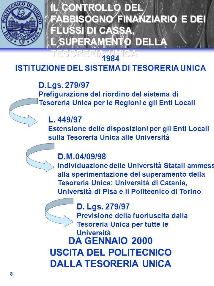 IL CONTROLLO DEL FABBISOGNO FINANZIARIO E DEI FLUSSI DI CASSA, L SUPERAMENTO DELLA TESORERIA UNICA 8 1984 ISTITUZIONE DEL SISTEMA DI TESORERIA UNICA D.Lgs.