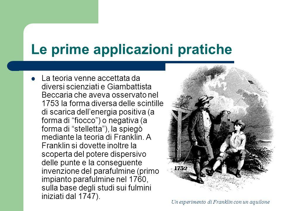 Le prime applicazioni pratiche La teoria venne accettata da diversi scienziati e Giambattista Beccaria che aveva osservato nel 1753 la forma diversa d