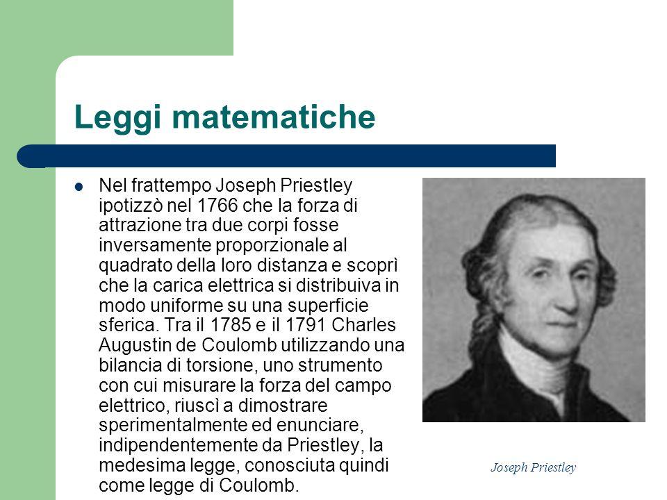 Leggi matematiche Nel frattempo Joseph Priestley ipotizzò nel 1766 che la forza di attrazione tra due corpi fosse inversamente proporzionale al quadra