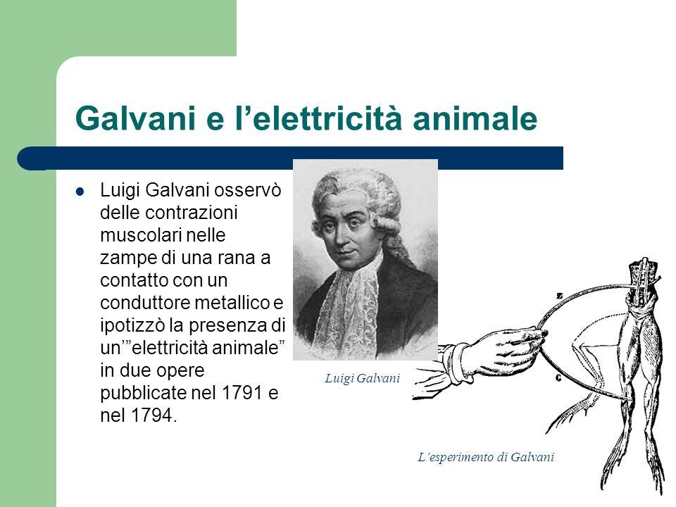 Galvani e lelettricità animale Luigi Galvani osservò delle contrazioni muscolari nelle zampe di una rana a contatto con un conduttore metallico e ipot
