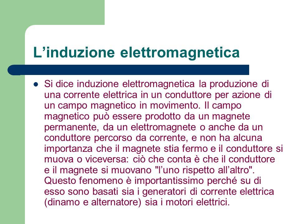Linduzione elettromagnetica Si dice induzione elettromagnetica la produzione di una corrente elettrica in un conduttore per azione di un campo magneti