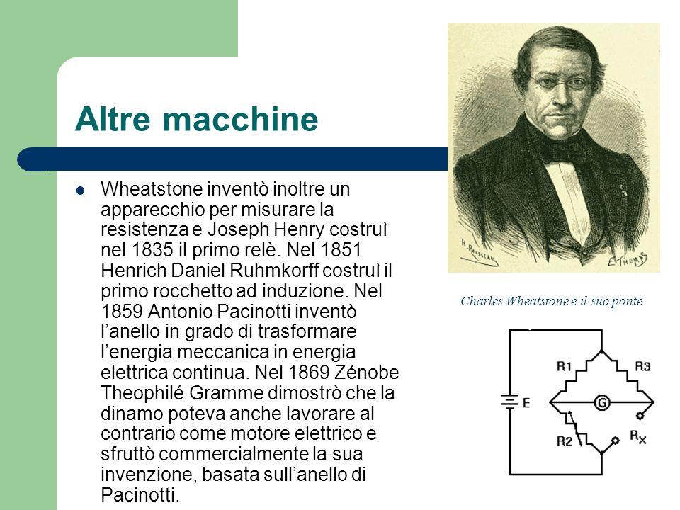Altre macchine Wheatstone inventò inoltre un apparecchio per misurare la resistenza e Joseph Henry costruì nel 1835 il primo relè. Nel 1851 Henrich Da