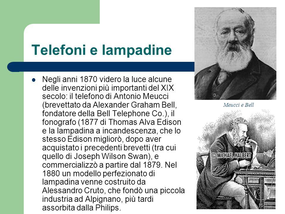 Telefoni e lampadine Negli anni 1870 videro la luce alcune delle invenzioni più importanti del XIX secolo: il telefono di Antonio Meucci (brevettato d