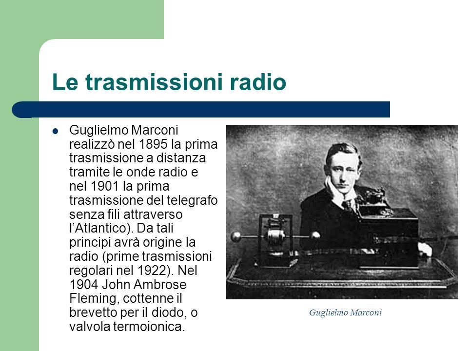 Le trasmissioni radio Guglielmo Marconi realizzò nel 1895 la prima trasmissione a distanza tramite le onde radio e nel 1901 la prima trasmissione del