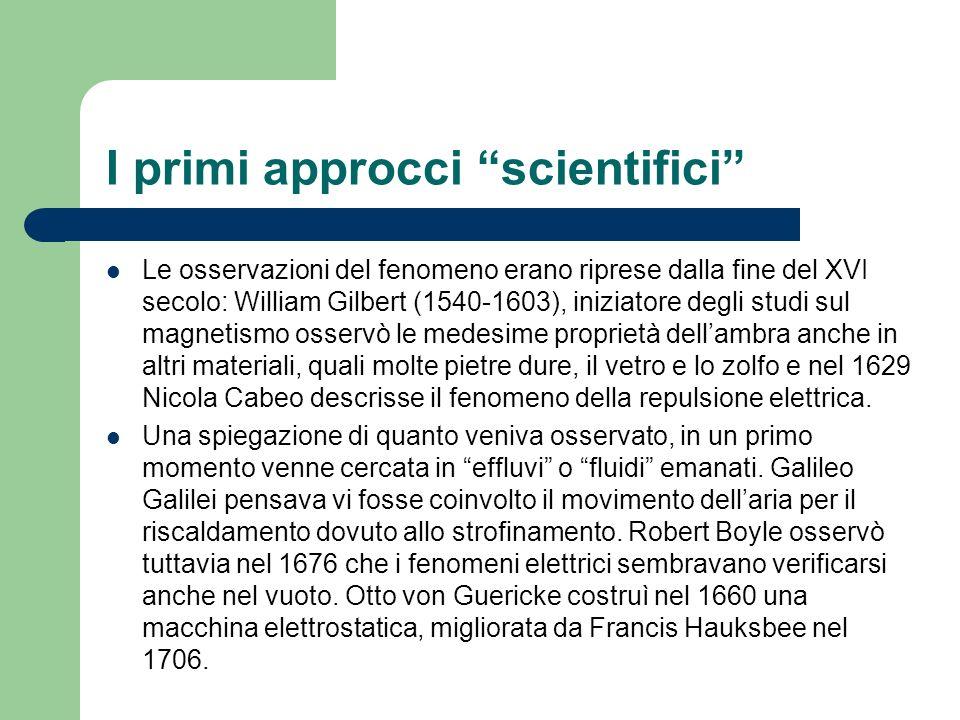 I primi approcci scientifici Le osservazioni del fenomeno erano riprese dalla fine del XVI secolo: William Gilbert (1540-1603), iniziatore degli studi