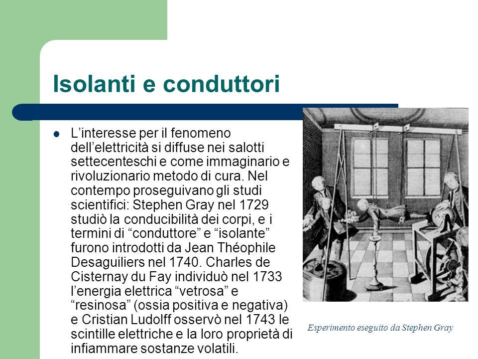 Isolanti e conduttori Linteresse per il fenomeno dellelettricità si diffuse nei salotti settecenteschi e come immaginario e rivoluzionario metodo di c