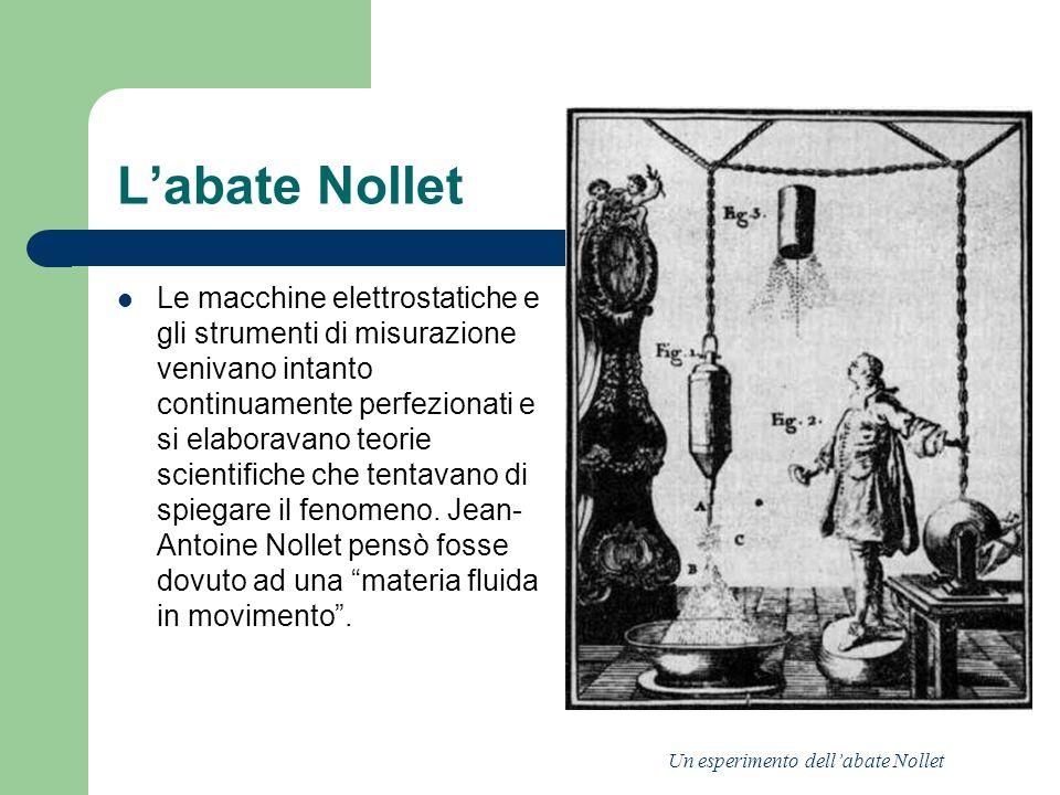 Labate Nollet Le macchine elettrostatiche e gli strumenti di misurazione venivano intanto continuamente perfezionati e si elaboravano teorie scientifi