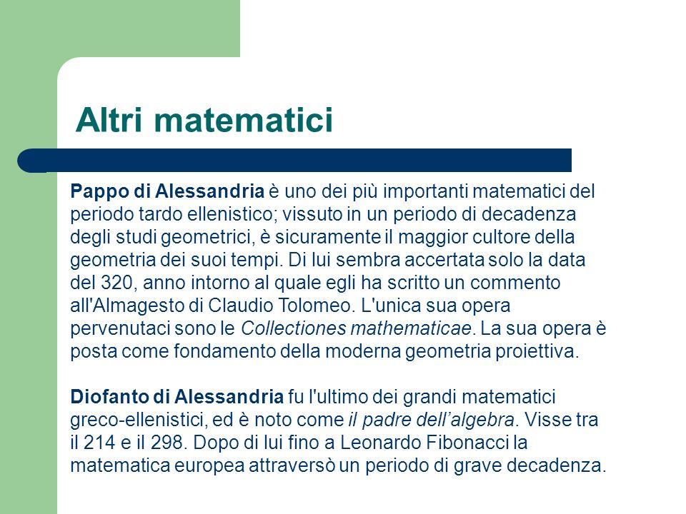 Altri matematici Pappo di Alessandria è uno dei più importanti matematici del periodo tardo ellenistico; vissuto in un periodo di decadenza degli studi geometrici, è sicuramente il maggior cultore della geometria dei suoi tempi.
