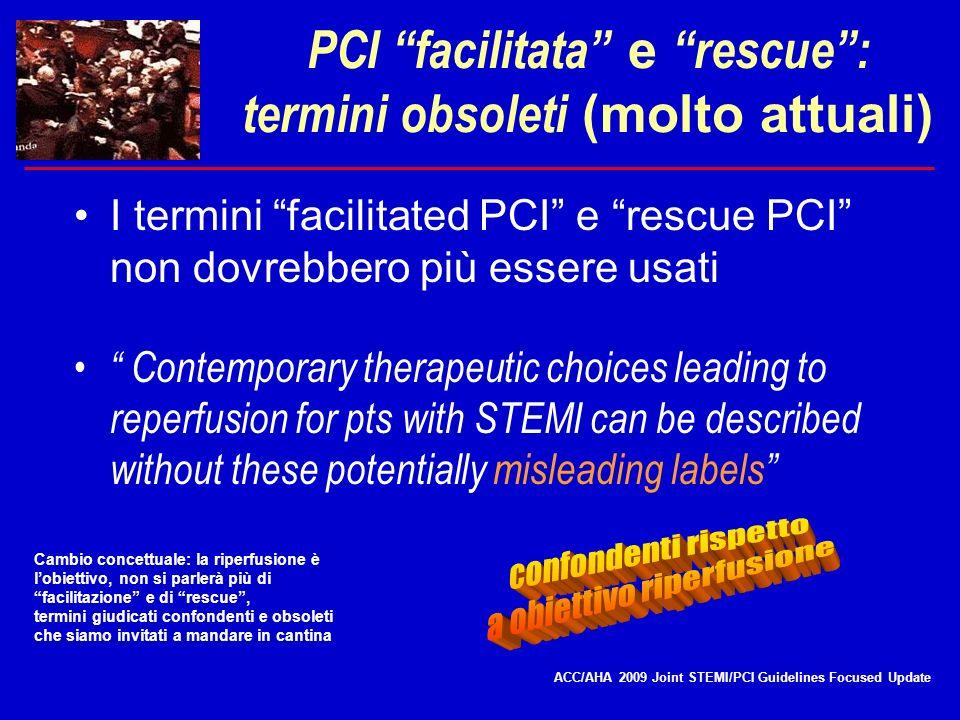 PCI facilitata e rescue: termini obsoleti (molto attuali) I termini facilitated PCI e rescue PCI non dovrebbero più essere usati Contemporary therapeu