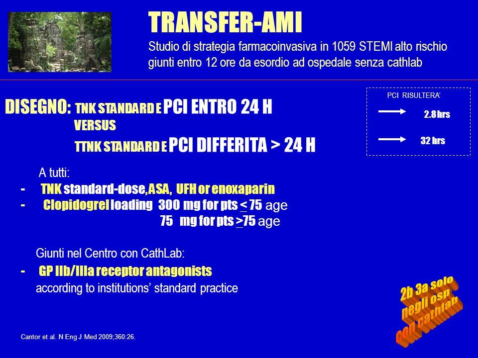 TRANSFER-AMI Studio di strategia farmacoinvasiva in 1059 STEMI alto rischio giunti entro 12 ore da esordio ad ospedale senza cathlab A tutti: - TNK st