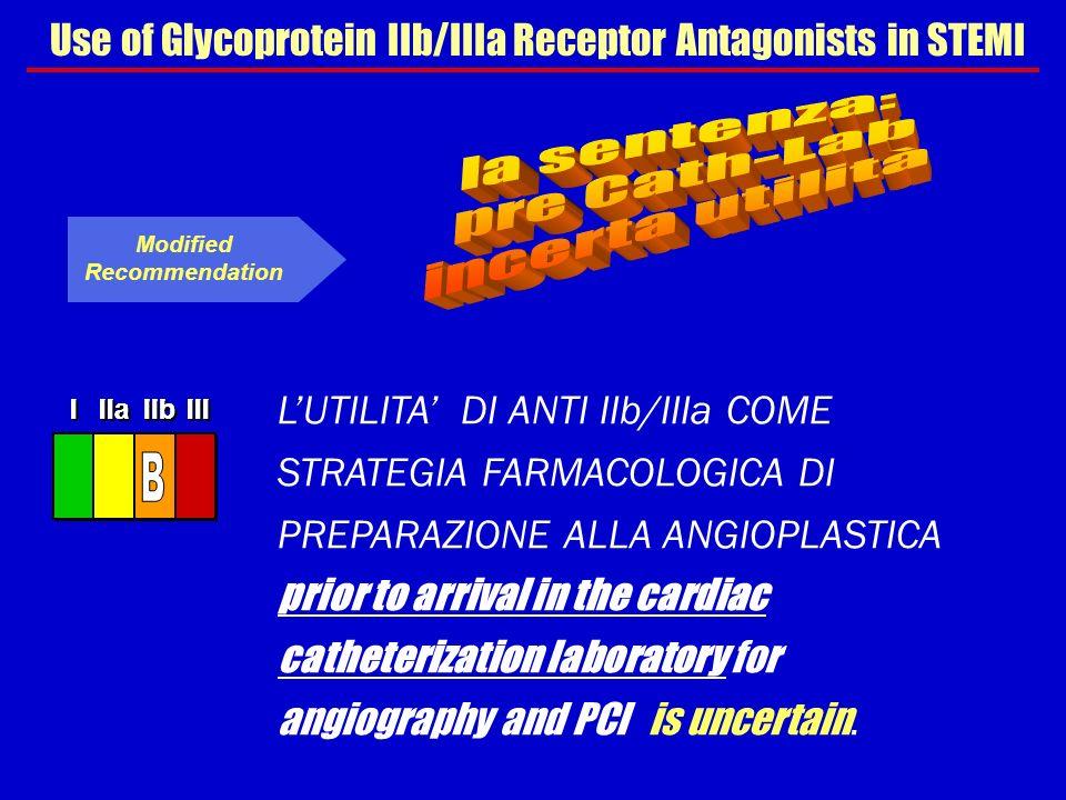 Use of Glycoprotein IIb/IIIa Receptor Antagonists in STEMI LUTILITA DI ANTI IIb/IIIa COME STRATEGIA FARMACOLOGICA DI PREPARAZIONE ALLA ANGIOPLASTICA p