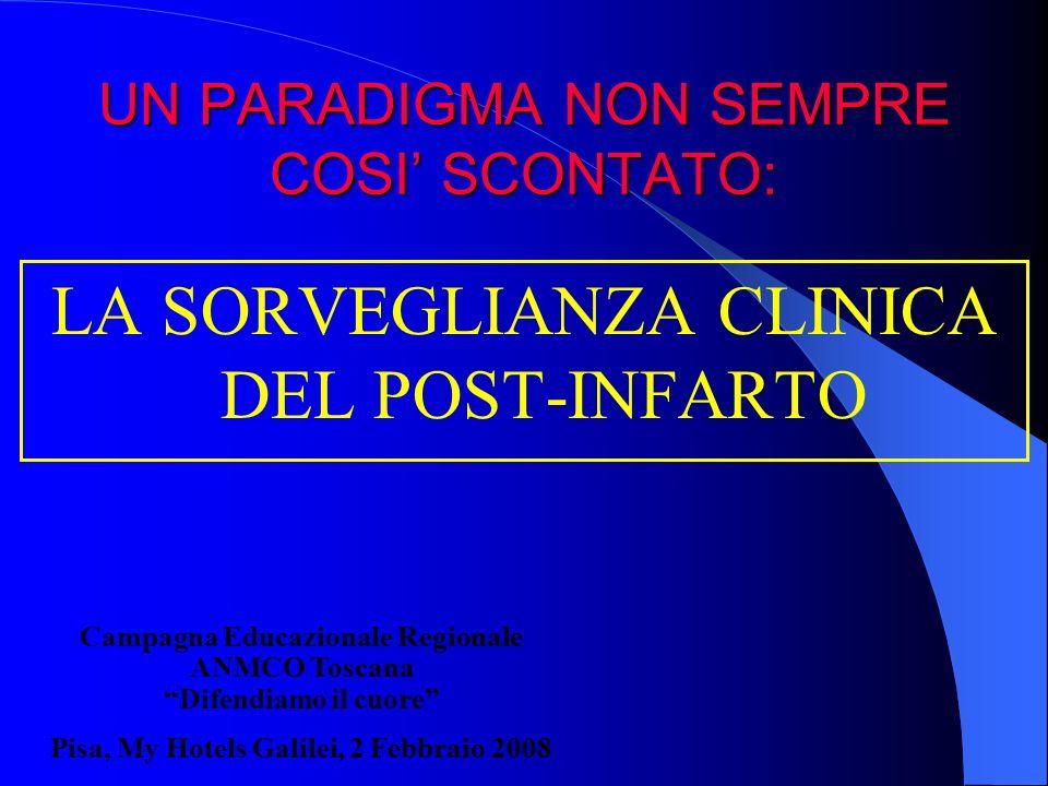 UN PARADIGMA NON SEMPRE COSI SCONTATO: LA SORVEGLIANZA CLINICA DEL POST-INFARTO Campagna Educazionale Regionale ANMCO Toscana Difendiamo il cuore Pisa
