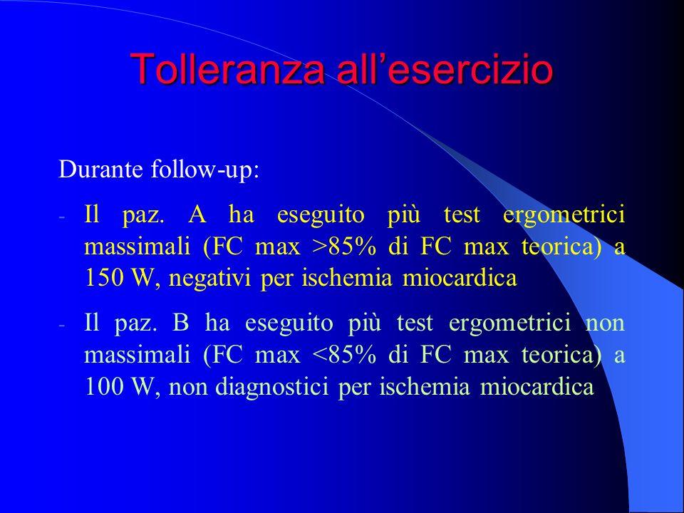 Tolleranza allesercizio Durante follow-up: - Il paz. A ha eseguito più test ergometrici massimali (FC max >85% di FC max teorica) a 150 W, negativi pe