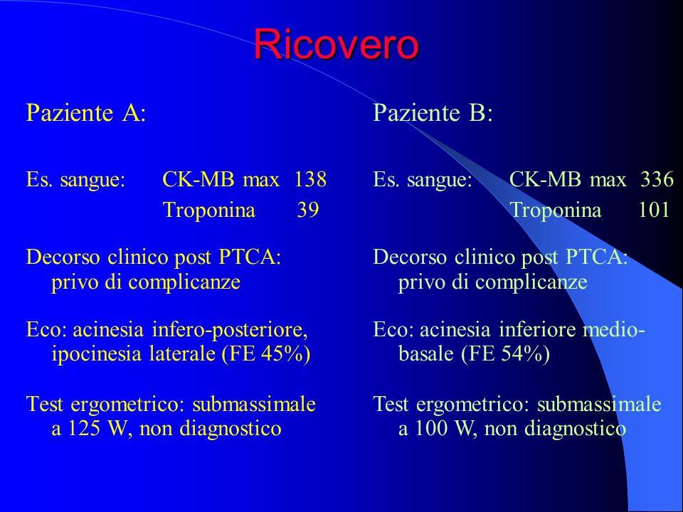 Paziente A: Es. sangue: CK-MB max 138 Troponina 39 Decorso clinico post PTCA: privo di complicanze Eco: acinesia infero-posteriore, ipocinesia lateral