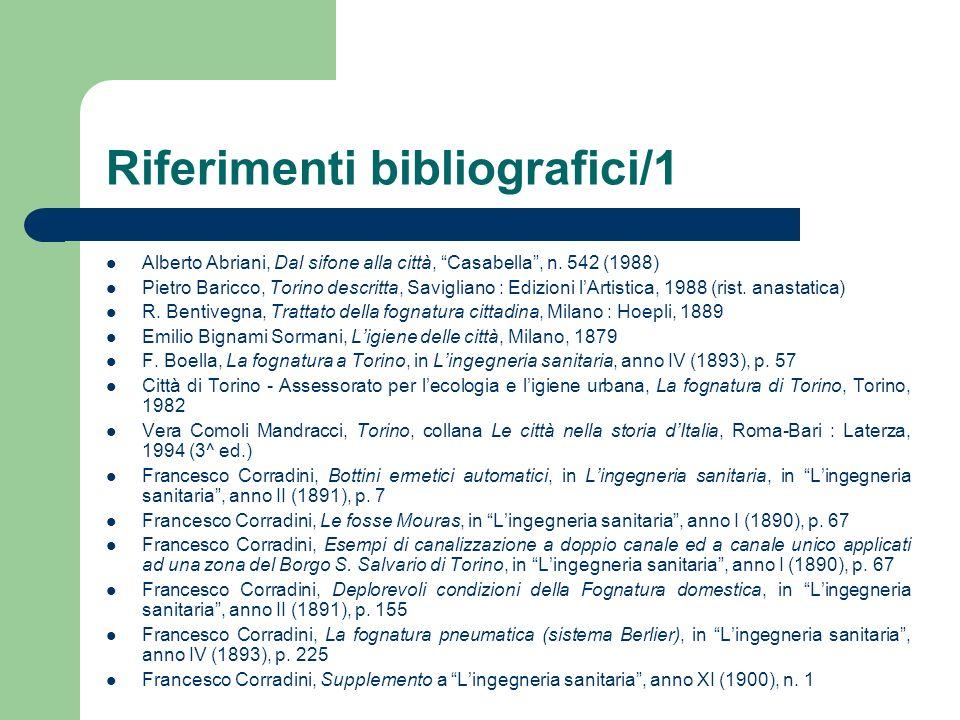 Riferimenti bibliografici/1 Alberto Abriani, Dal sifone alla città, Casabella, n. 542 (1988) Pietro Baricco, Torino descritta, Savigliano : Edizioni l