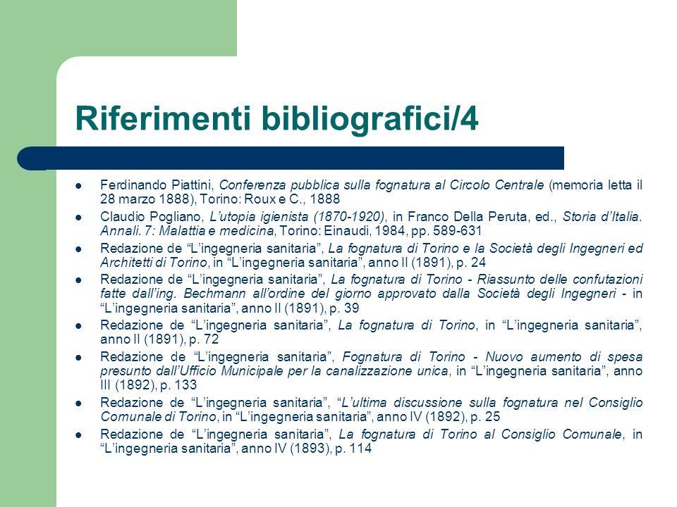 Riferimenti bibliografici/4 Ferdinando Piattini, Conferenza pubblica sulla fognatura al Circolo Centrale (memoria letta il 28 marzo 1888), Torino: Rou