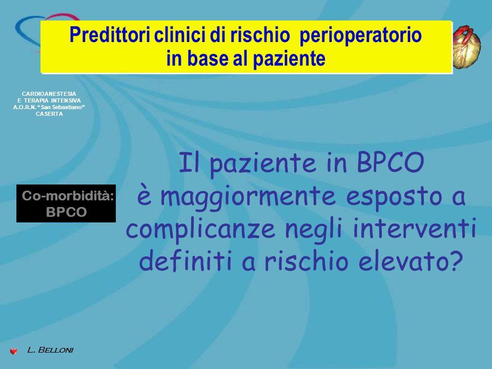 CARDIOANESTESIA E TERAPIA INTENSIVA A.O.R.N. San Sebastiano CASERTA Predittori clinici di rischio perioperatorio in base al paziente Predittori clinic