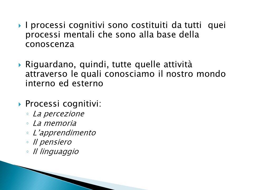 I processi cognitivi sono costituiti da tutti quei processi mentali che sono alla base della conoscenza Riguardano, quindi, tutte quelle attività attraverso le quali conosciamo il nostro mondo interno ed esterno Processi cognitivi: La percezione La memoria Lapprendimento Il pensiero Il linguaggio