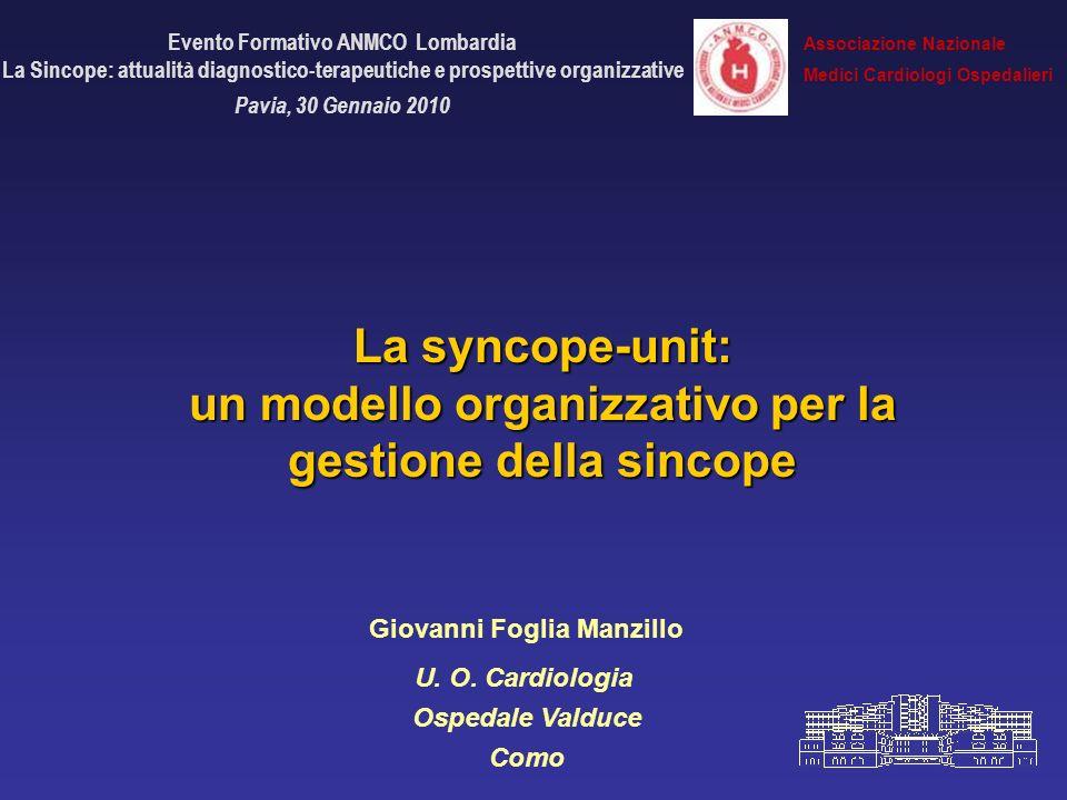 Evento Formativo ANMCO Lombardia La Sincope: attualità diagnostico-terapeutiche e prospettive organizzative Pavia, 30 Gennaio 2010 La syncope-unit: un