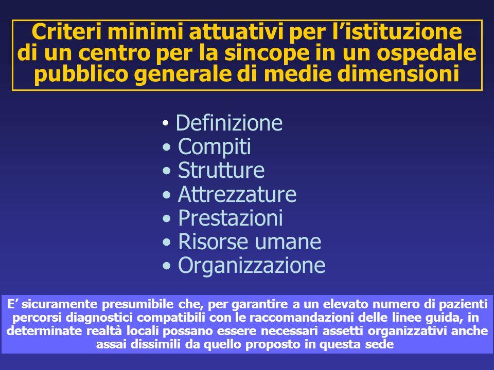 Criteri minimi attuativi per listituzione di un centro per la sincope in un ospedale pubblico generale di medie dimensioni Definizione Compiti Struttu