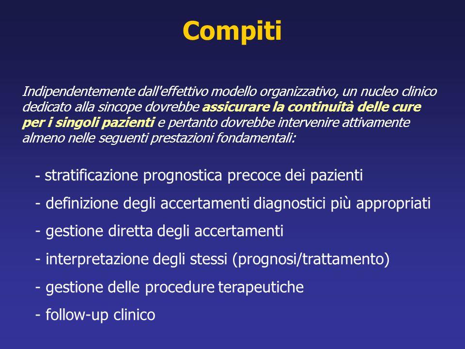Indipendentemente dall'effettivo modello organizzativo, un nucleo clinico dedicato alla sincope dovrebbe assicurare la continuità delle cure per i sin