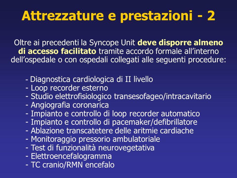 Attrezzature e prestazioni - 2 - Diagnostica cardiologica di II livello - Loop recorder esterno - Studio elettrofisiologico transesofageo/intracavitar