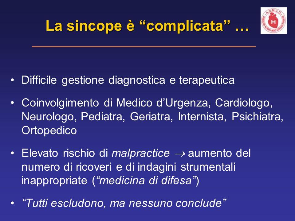 Difficile gestione diagnostica e terapeutica Coinvolgimento di Medico dUrgenza, Cardiologo, Neurologo, Pediatra, Geriatra, Internista, Psichiatra, Ort