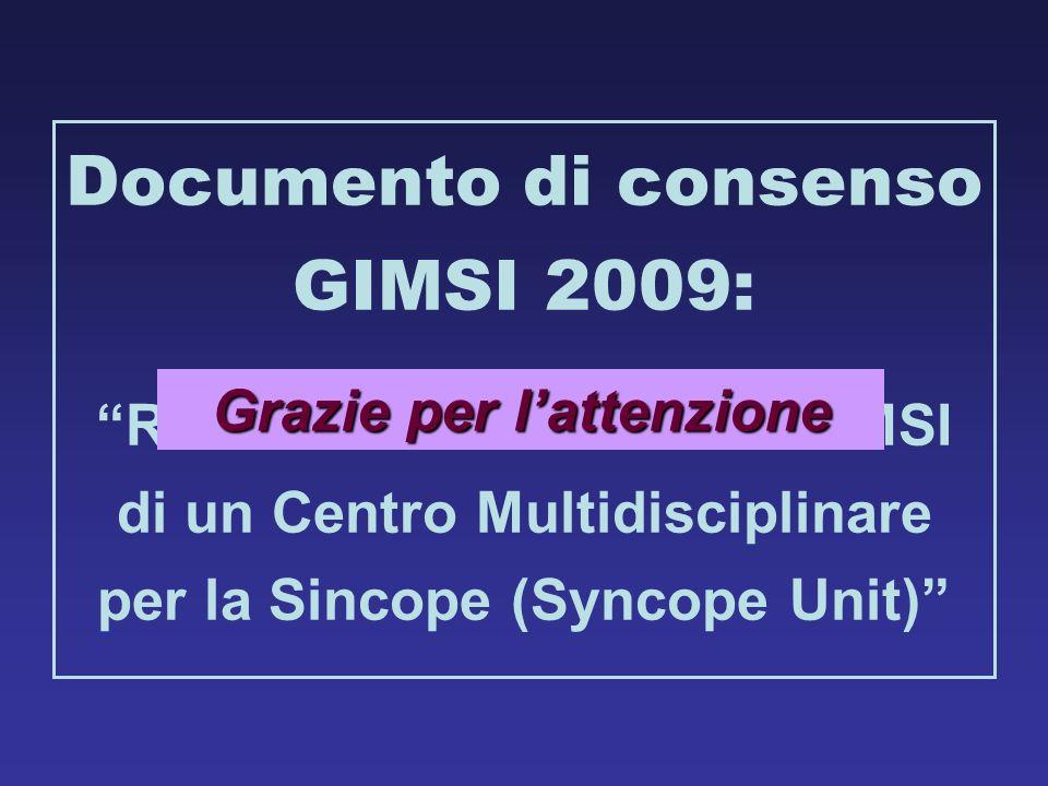 Documento di consenso GIMSI 2009: Richiesta certificazione GIMSI di un Centro Multidisciplinare per la Sincope (Syncope Unit) Grazie per lattenzione