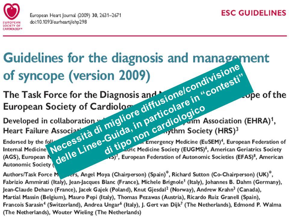 Necessità di migliore diffusione/condivisione delle Linee-Guida, in particolare in contesti di tipo non cardiologico