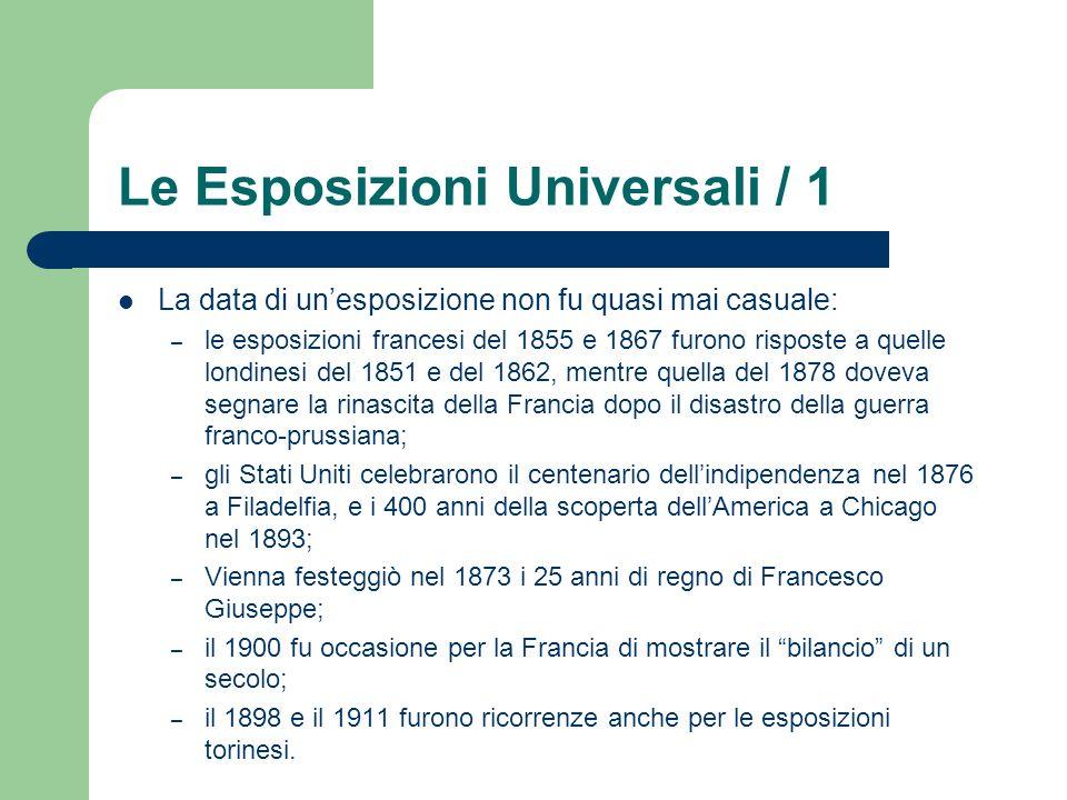 Le Esposizioni Universali / 1 La data di unesposizione non fu quasi mai casuale: – le esposizioni francesi del 1855 e 1867 furono risposte a quelle lo