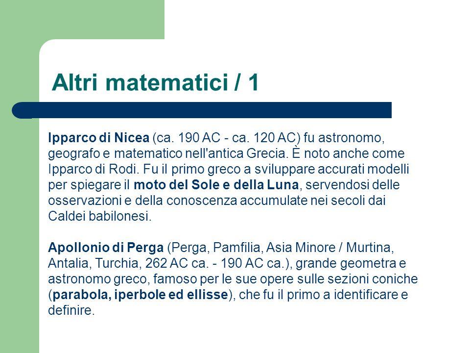 Altri matematici / 1 Ipparco di Nicea (ca. 190 AC - ca. 120 AC) fu astronomo, geografo e matematico nell'antica Grecia. È noto anche come Ipparco di R