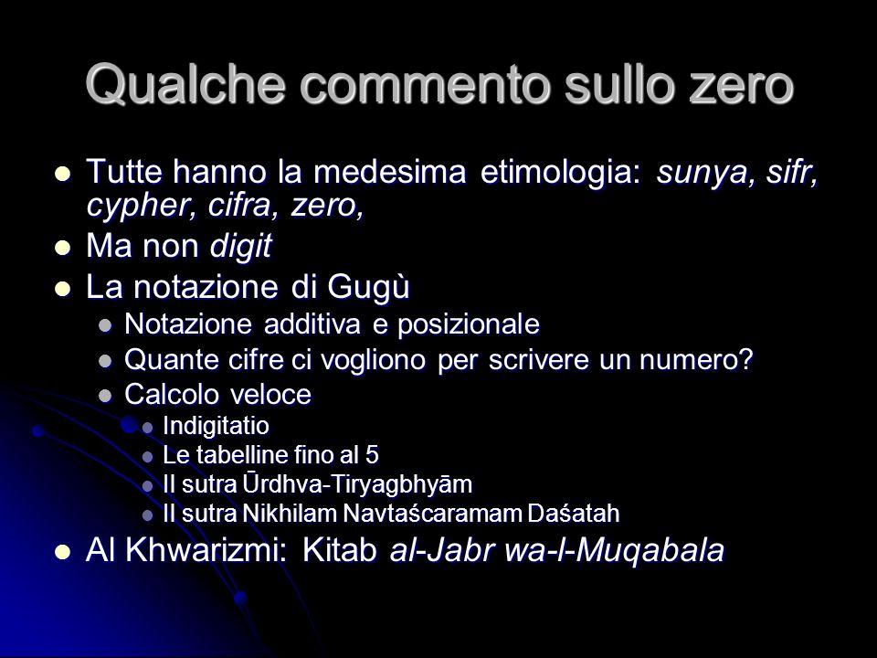 Qualche commento sullo zero Tutte hanno la medesima etimologia: sunya, sifr, cypher, cifra, zero, Tutte hanno la medesima etimologia: sunya, sifr, cyp