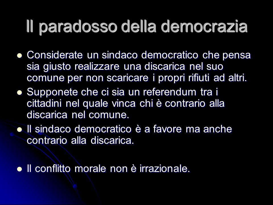 Il paradosso della democrazia Considerate un sindaco democratico che pensa sia giusto realizzare una discarica nel suo comune per non scaricare i prop