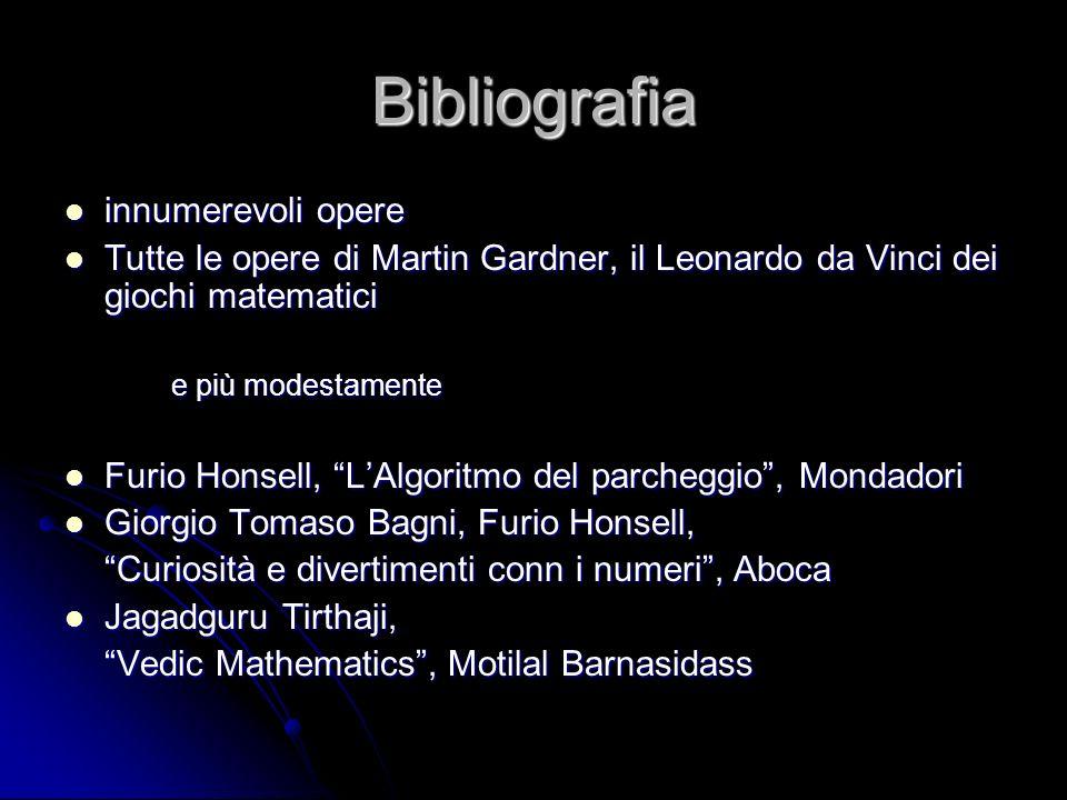 Bibliografia innumerevoli opere innumerevoli opere Tutte le opere di Martin Gardner, il Leonardo da Vinci dei giochi matematici Tutte le opere di Mart