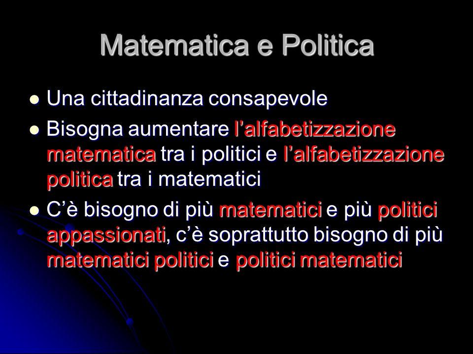 Matematica e Politica Una cittadinanza consapevole Una cittadinanza consapevole Bisogna aumentare lalfabetizzazione matematica tra i politici e lalfab