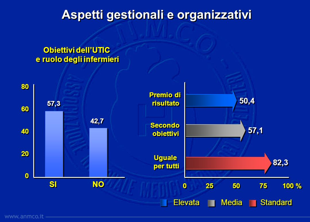 Aspetti gestionali e organizzativi Obiettivi dellUTIC e ruolo degli infermieri Obiettivi dellUTIC e ruolo degli infermieri 0 25 50 75 100 % 80 60 40 2