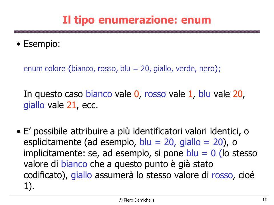 © Piero Demichelis 10 Il tipo enumerazione: enum Esempio: enum colore {bianco, rosso, blu = 20, giallo, verde, nero}; In questo caso bianco vale 0, rosso vale 1, blu vale 20, giallo vale 21, ecc.