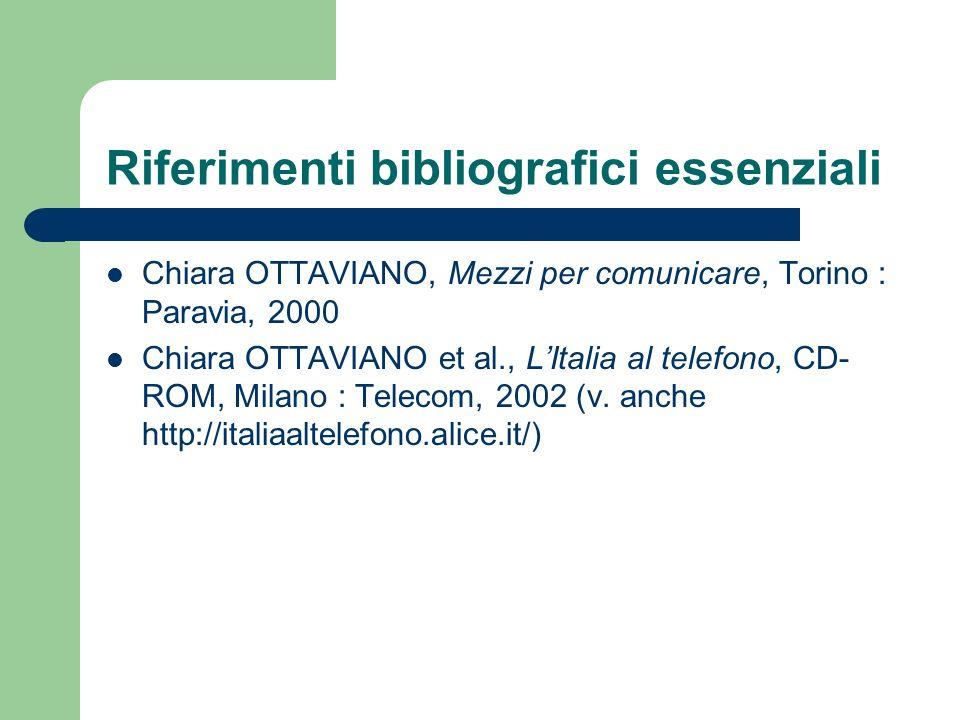 Riferimenti bibliografici essenziali Chiara OTTAVIANO, Mezzi per comunicare, Torino : Paravia, 2000 Chiara OTTAVIANO et al., LItalia al telefono, CD-