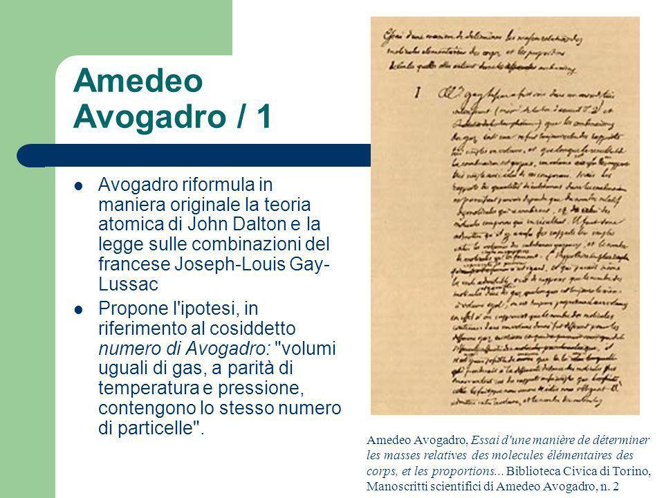 Amedeo Avogadro / 1 Amedeo Avogadro, Essai d'une manière de déterminer les masses relatives des molecules élémentaires des corps, et les proportions..